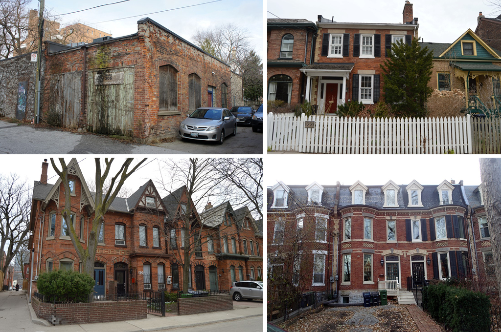 Top-Left: One-story laneway coach house with three cars parked beside it. Top-Right: Row of semi-detached houses with Georgian Revival-style two-story home at the centre. Bottom-Left: Row of red-brick Bay-and-gable houses. Bottom-Right: Row of semi-detached Second Empire style houses with dark Mansard roofs.